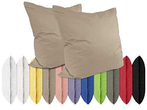 Renforcé-Kissenbezüge im Doppelpack - 100% Baumwolle – schlicht und edel im Design, in 11 Uni-Farben, 40 x 40 cm, Cappuccino