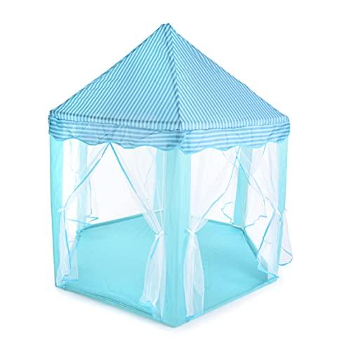 BREEZEE MARKET Castillo Carpa Casa Princesas Portatil. Castillo de Princesas Cute Interior Kids Play Tienda de campaña al Aire. Playhouse (Azul)