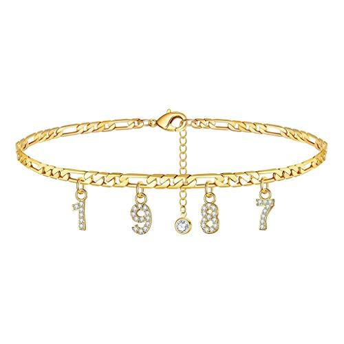 Geburtsjahr Frauen Fußkettchen gefüllt mit personalisierten Fußkettchen Beach Feet Jewelry - Custom Layered Year Armbänder mit Verstellbarer Gliederkette zum Weihnachtsgeburtstag (Gold, 1987 Jahr)