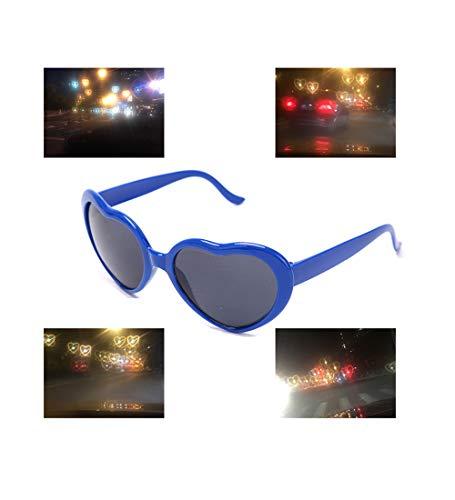 LotCow Gafas de sol con efecto especial en forma de corazón con forma de corazón, efecto especial, para fiestas, vacaciones, color azul