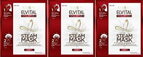 L'Oréal Paris Elvital Total Repair 5 Steam Mask selbsterwärmende Reparatur Haarmaske, 3er Pack (3 Stück)