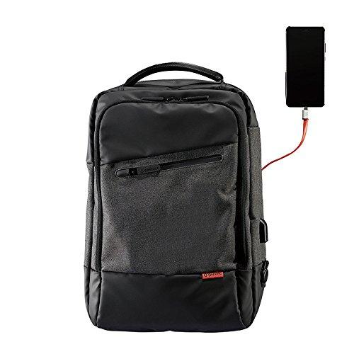 """Geneeo Genius Pack Platinum Smart Zaino per Laptop Fino a 15.6"""" con 3 Porte USB, Cavi e Adapter Inclusi, compatibilità Universale Tutti i Tipi di Power Bank"""