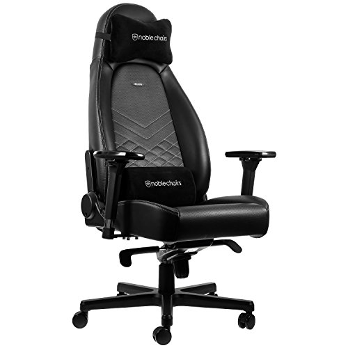 noblechairs ICON Gaming Chair - Office Chair - Desk Chair - PU Faux Leather - Black/Platinum White