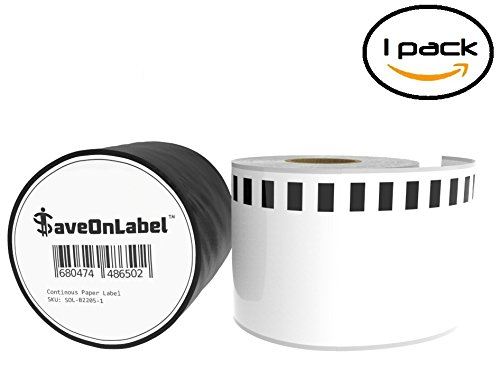 SaveOnLabel Brother DK-2205 Compatible Continuous Paper Labels, BPA Free, Strong Adhesive, Resistant To Scratches and Smudges, Compatible With QL-500/550/570/580/650/1050/1050/1060, and More (1 Roll)