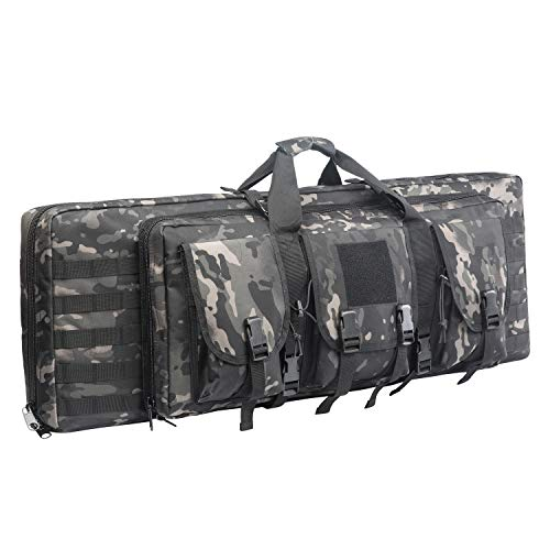 WolfWarriorX Double Long Rifle Gun Case Bag Tactical Carbine Cases Water Dust Resistant Firearm Shotgun Bag Outdoor MOLLE Hunting Shooting Storage Transport, Available in 38' 42' (BM, 42inch)