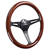Universal 350mm 14' Inch Grant Classic Nostalgia Style Wood Grain Steering Wheel Black Spoek with Horn Button