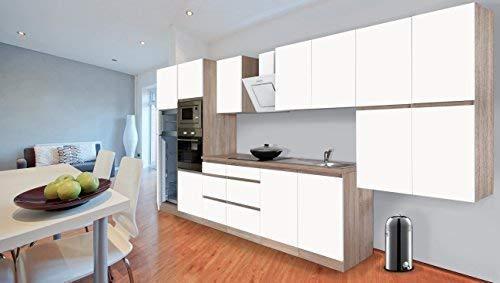 Respekta Premium griploze kitchenette keuken 435 cm eiken ruw gezaagd replica wit mat incl. softclose/koel-vriescombinatie 144 cm & keramische kookplaat