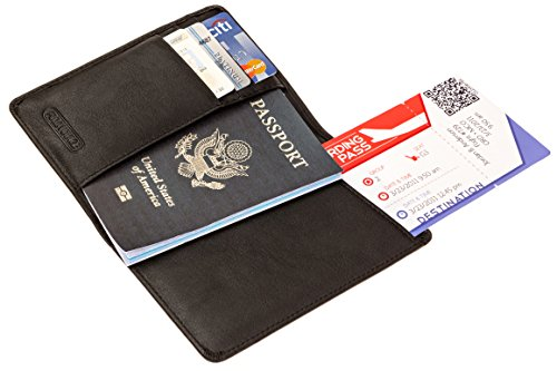 RFID Leather Passport Holder by FULL VOYAGE – Can Be Used As A Wallet, an ID, Credit Card, Boarding Pass, Money & Ticket Holder – Blocks RF Signals & Keeps Your Personal Information Protected