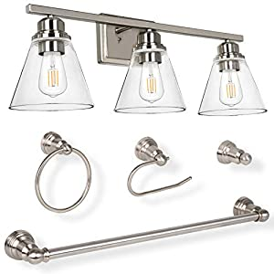 hykolity 3-Light Vanity Light Fixture, 5-Piece All-in-One Bathroom Set (E26 Bulb Base), Brushed Nickel Wall Sconce Lighting W/ Glass Shads, ETL Listed (Bulb not Included)