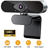 Tobeape HD 1080P Webcam with Microphone, Computer USB Webcam for Desktop/Laptop External PC