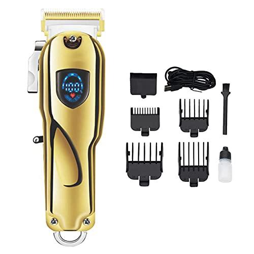 QHWJ Trajadores de Cabello Adornados para Hombres, cortadoras de Cabello Profesional y recortador de Barba con Cuchillas Ajustables, Kit de Aseo de peluquería Recargable con Pantalla LCD