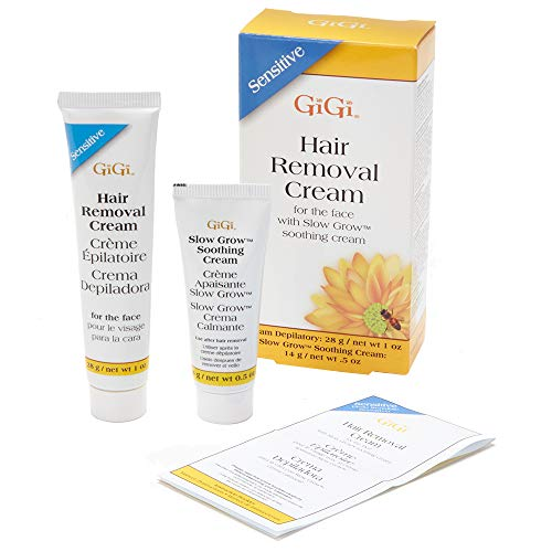 GiGi Hair Removal Cream for Face with Slow Grow Soothing Cream, 2-step Hair Removal System for...