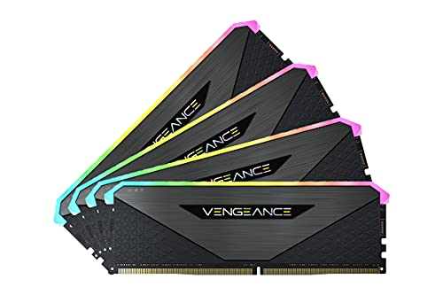 Corsair Vengeance RGB RT 128Go 4x32Go DDR4 3200MHz C16 Mémoire de Bureau Éclairage RGB Dynamique, Optimisé pour AMD 300/400/500 Series, Compatible avec Intel 300/400/500 Series Black