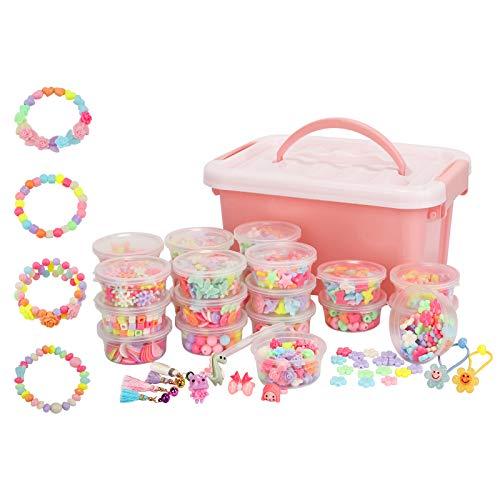 Herefun1700 Pcs Perline Colorate dei Bambini, Perline Colorate Kit Perline e Creazione di Gioielli Set di Perline Fai da Te per Bambini, Bambini Perline Realizzare Collane Bracciali Anelli per Bambini