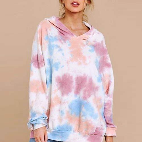 Damen Tie-Dye Bedruckte Farbverlauf Kapuzenpullover Top Beiläufig Bluse