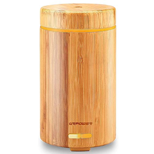 URPOWER OD-A001 Real Bamboo Essential Oil Ultrasonic Aromotherapy Cool Aroma Diffuser with Adjustable Mist Modes, Waterless Auto Shut-Off for Home Office Bedroom Living Room Study Yoga Spa