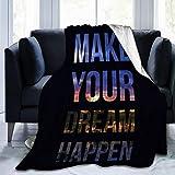 N/A Ultra-Soft Micro Fleece Blanket Cute Blanket Bed Sofa Home Office 50 'x40' Citation de Motivation inspirante Faire de Votre rêve Une Citation de Motivation inspirante Faire de Votre rêve Noir