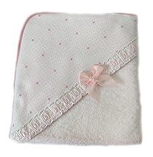 AMTBABY Toalla de baño con Capucha para Bebe. Capa de baño 100% Algodón. Toallitas 80 x 80 , Suave y Confortable. Rosa