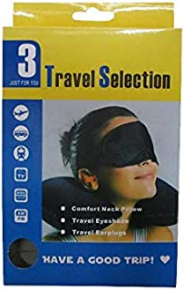 3 in 1 Travel Selection Comfort Neck Pillow, Travel Eye Shade Mask, Ear Plugs suitable for Train, Bus, Flight, Car, Long J...