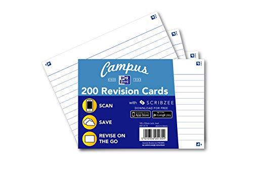 Oxford Campus Revisionskort, linjerat, A6, vit, 200 kort