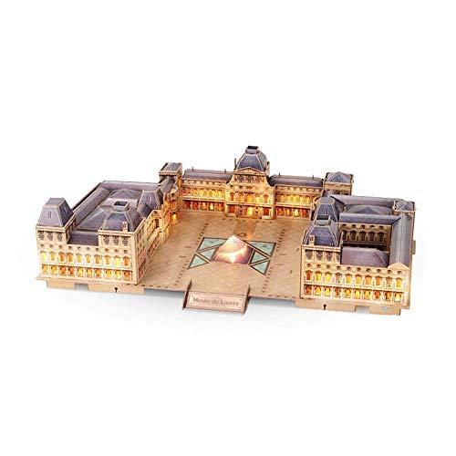 ROLL Puzzles 3D, Arquitectura Modelo movible Grande del Louvre, Desafío for Adultos Infantes, se Puede Instalar con Las Luces de los Kits de Edificio Modelo, 137 Piezas