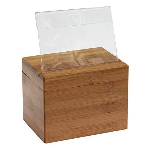 Xzbling Caja de Recetas de bambú, Caja de organización de Recetas de Madera Caja de Almacenamiento de Recetas de Cocina Caja de Recetas de Madera de bambú Hecha a Mano con Tarjetas y separadores