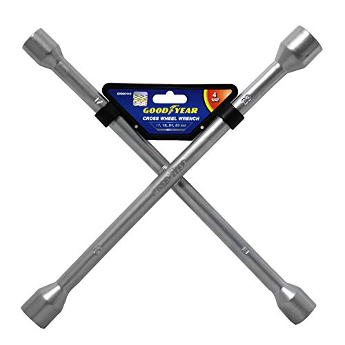 Goodyear Professional Fixed 4 Way Cross Wheel Wrench Nut 17/19/ 21 / 23mm...