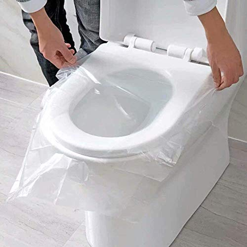 EGV-50 Pieces Disposable Plastic Toilet Seat Cover Waterproof and Non Slip Individually Wrapped for Travel Perfect for Potty Training Ideal for Adults-68