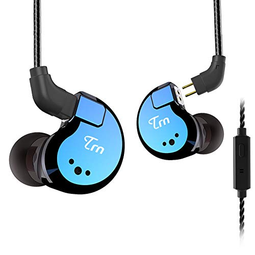 TRN V80 Hi-Fidelity Stereo Bass Headphone, 2 Balanced Armature and 2 Dynamic Driver in Ear Earphone Metal Headset with Remote Control Detachable 2Pin Cable (Blue with Mic)
