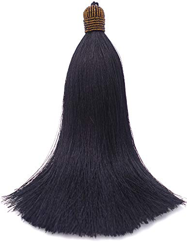 Extra Long Silky 10 Inch Tassel with Beaded Head and Hanging Loop for Home Furniture Interior Décor Craft Accessory DIY Black