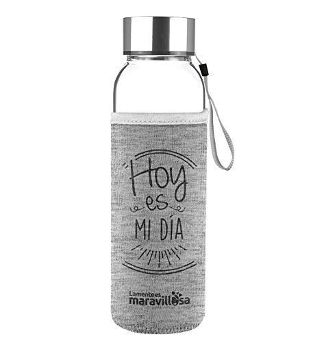 LA MENTE ES MARAVILLOSA - Botella de Cristal con Funda y Frase motivadora. Regalo Original (Hoy es mi día) Botella de 500 ml