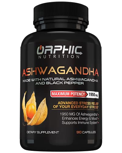 Max Potency Organic Ashwagandha Capsules with Black Pepper 1950 mg - Anti-Anxiety Supplements for Stress Relief, Mood Boost and More Energy - Non-GMO and Gluten-Free - Orphic Nutrition 90 Capsules