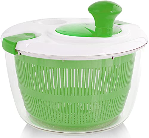 Zulay Kitchen Salad Spinner Large 5L Capacity - Manual Lettuce Spinner With Secure Lid Lock & Rotary Handle - Easy To Use Salad Spinners With Bowl, Colander & Built-in Draining System (Green)