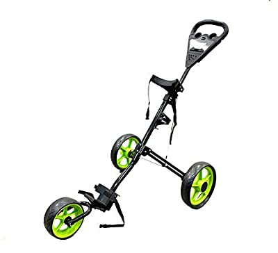 SunL 3-Wheel Golf Push Cart, Folding Golf Pull Trolley with Drink Holder Scoreboard, Lightweight Push Pull Golf Cart (10)