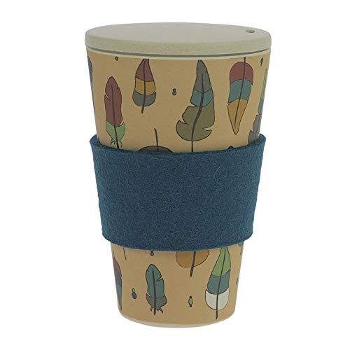 ebos Coffee-to-Go-Becher aus Bambus, incl. Schraubdeckel | wiederverwendbar, natürliche Materialien, umweltfreundlich, spülmaschinengeeignet, verschiedene Designs (Zauberfeder)