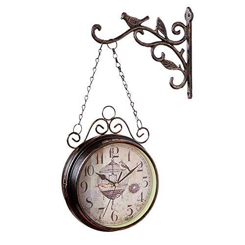 Reloj de pared al aire libre resistente a la intemperie, relojes de pared de jardín de doble cara Adornos al aire libre de hierro forjado Adornos al aire libre, fácil de leer números de estilo europeo