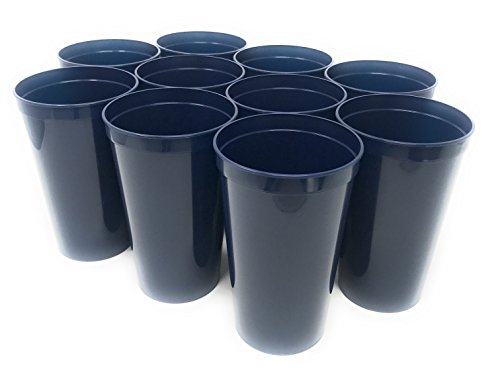 CSBD Stadium 22 oz. Plastic Cups, 10 Pack, Blank Reusable Drink Tumblers for Parties, Events, Marketing, Weddings, DIY Projects or BBQ Picnics, No BPA (Navy Blue)