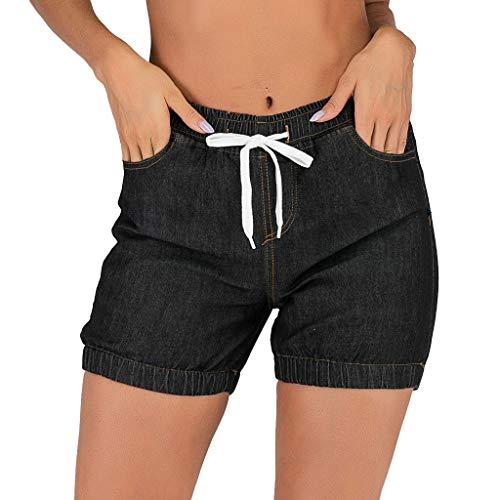 WOZOW Denim Shorts Kurze Hose Damen Jeanshose Solid Einfarbig Schlank Slim Mini Bloomers Vintage Retro Casual High Waist Elastic Kardashian Bermuda Freizeithose Stoffhose (L,Schwarz)