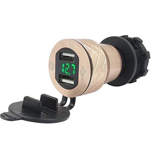 HEWE Cargador USB dual de carga rápida 3.0, adaptador para encendedor de cigarrillos, pantalla LED, para decoración de coche F800GS R1250GS R1200GS (color: negro) (color: dorado)