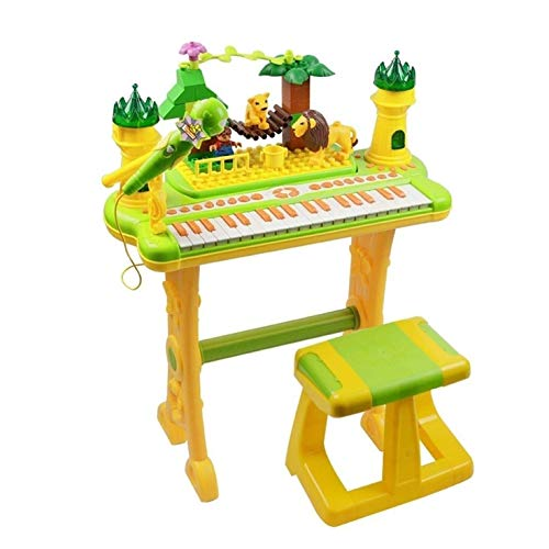 Digitale piano Children's Cartoon Keyboard Puzzel Bouwstenen Toys Kids Birthday Gifts Music Early Education Muziekinstrumenten (Color : Yellow)