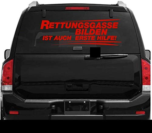 myrockshirt Rettungsgasse bilden ist auch erste Hilfe Typ XL ca.80x25 cm Aufkleber,Sticker,Autoaufkleber,Heckscheibe,Lack,Auto,Feue