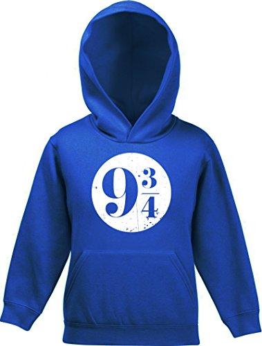 ShirtStreet Fanartikel Fan Kult Film Kinder Hoodie Kapuzenpullover Mädchen Jungen Kreis Harry 9 3/4, Größe: 152,Royal Blau