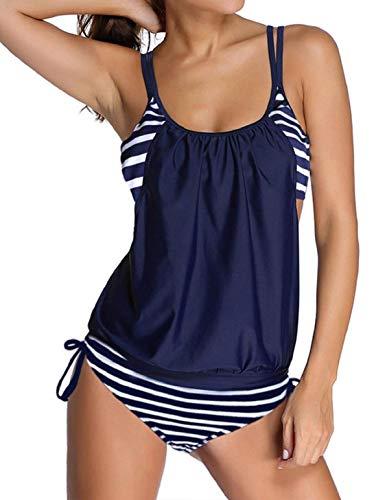 heekpek Traje de Baño de Dos Piezas Tankini Clásico de Rayas Mujer Push Up Más Tamaño Tankini Conjuntos de Dos Piezas Beachwear Swimsuit