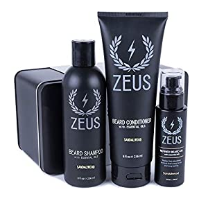 ZEUS Starter Set for Thick or Textured Beards- Refined Beard Oil (Sandalwood) Made in the USA 12