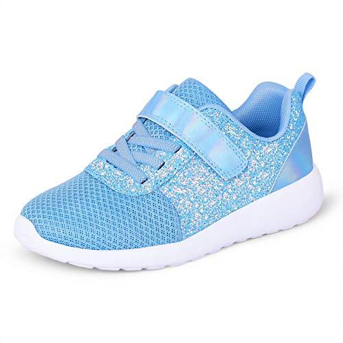 Zapatillas deportivas para niña con purpurina, zapatillas de deporte para correr, zapatillas de interior, zapatillas de tenis con cierre de velcro para jóvenes, color Azul, talla 34 EU
