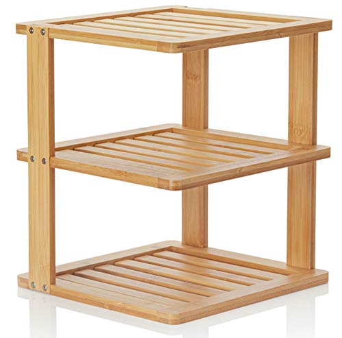 Bamboo Corner Shelf - 3 Tier 10 x 10 inch and 11.5 inches high. Kitchen Cabinet Organizer - Pantry...