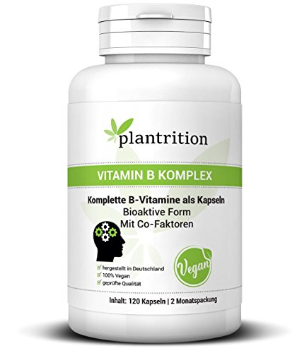 plantrition® Vitamin B Komplex hochdosiert Vegan - alle acht B-Vitamine - Bioaktiv & mit Co-Faktoren - B1, B2, B3, B5, B6, B12, D-Biotin & Folsäure - 120 Kapseln