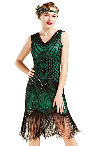 Babeyond Vestido de charlestón, estilo de los años 20, del Gran Gatsby, con flecos, cuentas y cuello en V -  Verde -  Medium