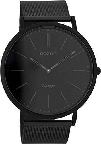 Oozoo Vintage Armbanduhr mit Edelstahl Milanaise Metallband 44 MM Black/Schwarz/Schwarz C7384