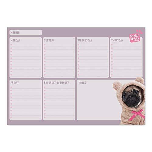 Erik - Planning da Tavolo Studio Pets Dog, con Planner Settimanale e 54 Fogli a Strappo, Perfetto Come Agenda Appuntamenti